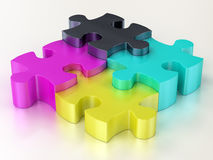 Cmyk jigsaw puzzle pieces Stock Photography