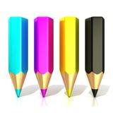 CMYK-kleurenpotloden (cyaan, magenta, geel en zwart) stock illustratie