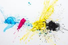 CMYK-kleurentoner voor printer cyaan magenta geel stock afbeelding