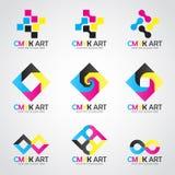 CMYK-kleurt het vector vastgestelde cyaan en magenta en gele ontwerp van het Kunstembleem en keyblack royalty-vrije illustratie