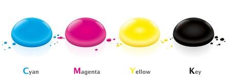 CMYK koloru modela krople Obrazy Royalty Free