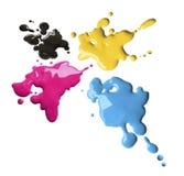cmyk koloru pluśnięcia Zdjęcie Royalty Free