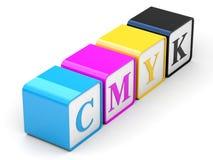 CMYK-kubussen Stock Fotografie