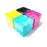 CMYK-kubussenteken, zoals symbool van druk Royalty-vrije Stock Afbeeldingen