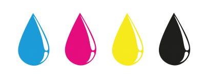CMYK laat vallen primaire kleurendruk stock illustratie