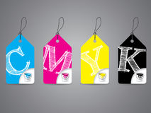 Cmyk labels with paint and scribbled text Stock Image