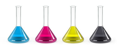 CMYK Laboratory Flasks Royalty Free Stock Images