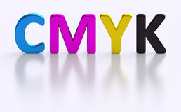 CMYK letter four process color printing. 4C processing printing background with four isolated color letters represent necessary basic colors: Cyan, Magenta Stock Image