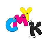 CMYK - lettere del fumetto Fotografie Stock Libere da Diritti