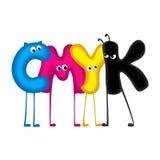 CMYK - lettere divertenti, fondo bianco Fotografie Stock