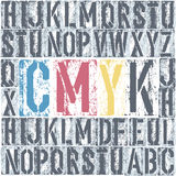 CMYK letterpress poster. Stock Photos