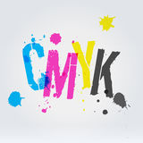 CMYK letters in paint splashes Royalty Free Stock Photography