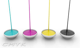 CMYK liquid inks Royalty Free Stock Photos