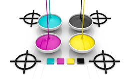CMYK liquid inks and target Royalty Free Stock Image