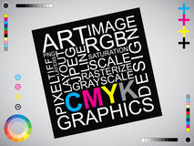 CMYK listów projekta sztuki wizerunek Fotografia Stock