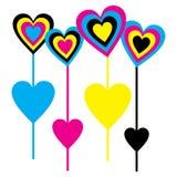 CMYK Lollipops this Valentine season Stock Image