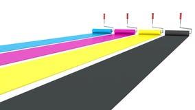 CMYK-målarfärgrullar. tryck- och målarfärgbegrepp Royaltyfri Bild