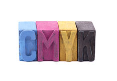 Cmyk made from letterpress blocks Royalty Free Stock Photo