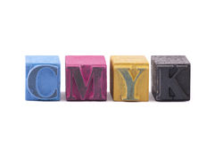 Cmyk made from letterpress blocks Stock Image