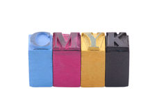 Cmyk made from letterpress blocks Royalty Free Stock Photography