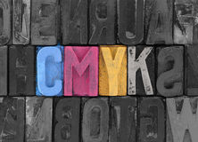 Cmyk made from letterpress blocks Royalty Free Stock Photos