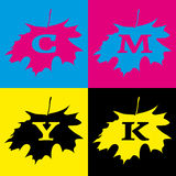 CMYK Maple Logo. The simple square logo in CMYK colors with the shape of maple leaf Stock Photo