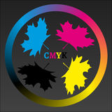 CMYK Maple Logo. The simple square logo in CMYK colors with the shape of maple leaf Royalty Free Stock Photos