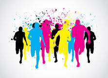 CMYK Marathon Runners. Abstract Grunge Background Royalty Free Stock Images