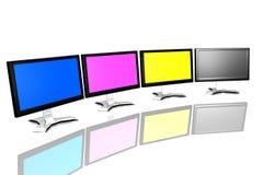 CMYK monitors. Isolated over white background Stock Photography