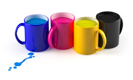 CMYK mugs lineup. Allegory of the four major printing inks. Isolated on white Stock Photography