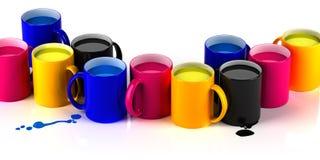 CMYK mugs lineup Stock Image
