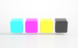 CMYK - Multicolored Cubes Stock Image