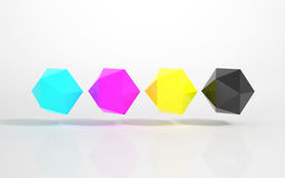 CMYK - Multicolored Icosahedrons. On a white Background royalty free illustration