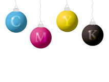 CMYK new year balls Stock Photography
