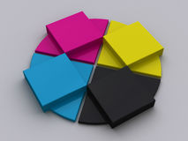 CMYK Objects. A set of objects with CMYK colors Royalty Free Stock Photo