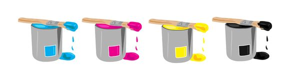CMYK paint buckets Royalty Free Stock Photography