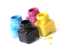 CMYK paint buckets Royalty Free Stock Images