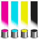 CMYK paint buckets and colored stripes Stock Images