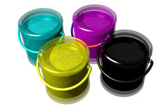 CMYK paint cans (3D). CMYK paint cans isolated on white. 3D image Stock Photo