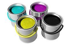 CMYK paint cans (3D) Stock Images