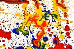 Cmyk, paint, color, inkblot, liquid, ink. Cmyk  splashes. Vibrant paint on paper Stock Photos