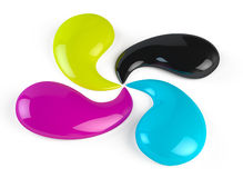 CMYK paint drops Stock Photos