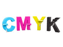 CMYK with paint front Royalty Free Stock Photos