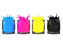 Cmyk paint in glass vessel Royalty Free Stock Photo