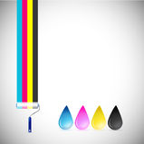 Cmyk paint roller and ink drops illustration Royalty Free Stock Image