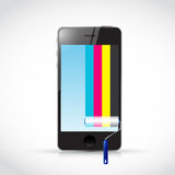 Cmyk paint roller and phone illustration design Royalty Free Stock Image