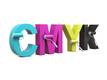 CMYK with paint rollers Royalty Free Stock Images