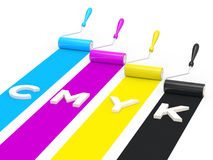 CMYK paint rollers Royalty Free Stock Image