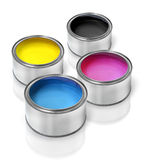 Cmyk paint tin cans Royalty Free Stock Image