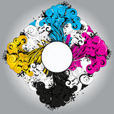 CMYK palette splash (place for your text) Stock Images